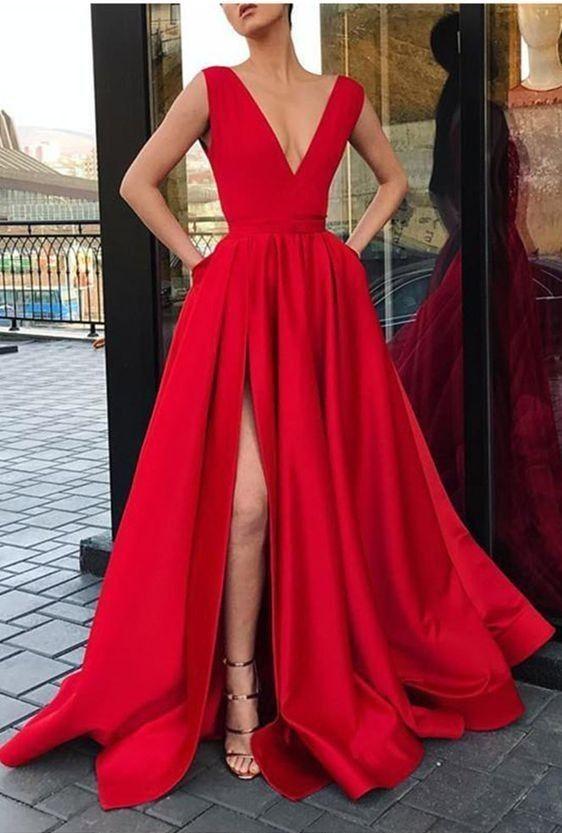 A Line V-neckline Red Prom Dress 90bc85b006ec