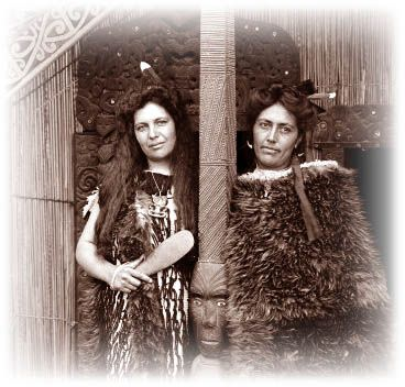 Well-known Rotorua tourist guides Maggie and Bella Papakura in their korowai cloaks.