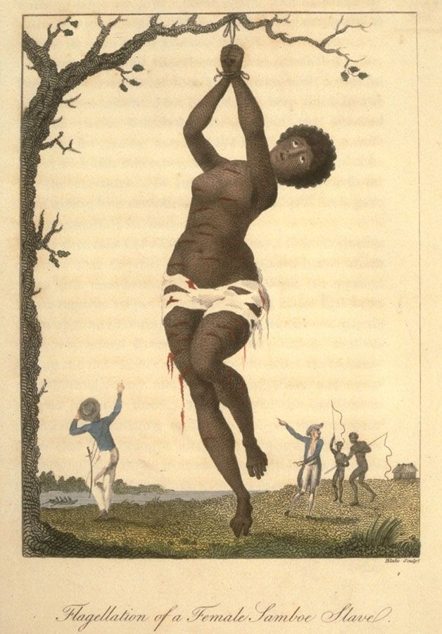 """Flagellation of a Female Samboe Slave."" Shows a female hanging from a tree with deep lacerations; in background two white men and two black men, the latter with whips. Stedman witnessed this event in 1774. The female was an eighteen-year old girl who was given 200 lashes for having refused to have intercourse with an overseer. She was ""lacerated in such a shocking manner by the whips of two negro-drivers, that she was from her neck to her ancles literally dyed with blood."""