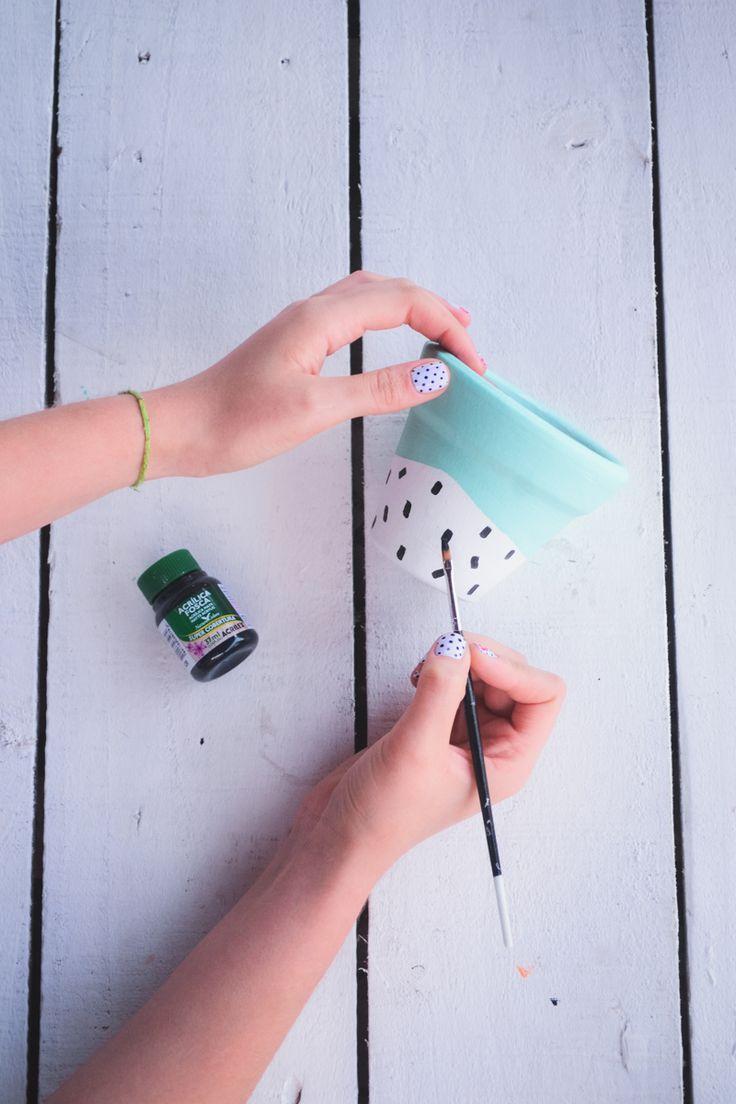 DIY: vasos de barro para suculentas   O Mundo de Jess