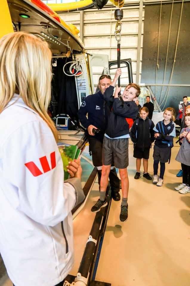 Ever wondered what it's like to get rescued? The Newcastle base showed some of the visiting students how the winch works at a base excursion!