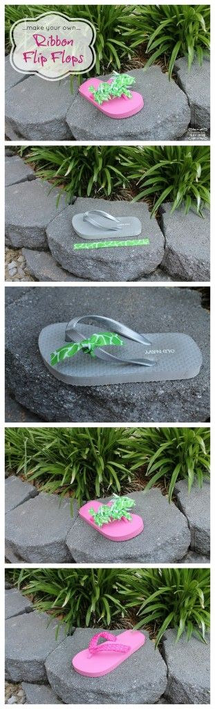 Make Your Own Ribbon Flip Flops - I want to do this with my girls