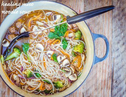 Super Quick + Healing Miso Noodle Soup (Gluten Free + Vegan) - GoodnessGreen #vegan #gluten free