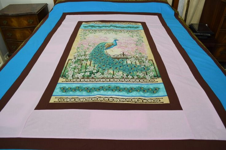 Brighten up your room with this delightful peacock quilt  is all hand made  and is never going to be repeated Just $450
