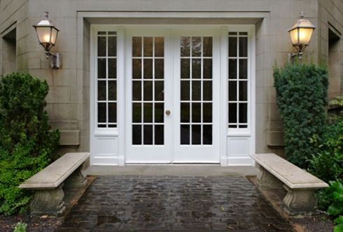 Double french doors with side lights french doors for All glass french doors