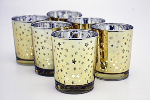 cool V-More Laser Cut Mercury Glass Votive Candle Holder Tealight Holder 2.55-inch Tall Set of 6 For Home Decor Wedding Party Celebration