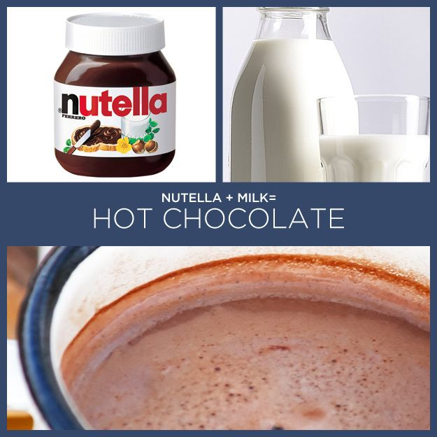 Nutella + leite = chocolate quente | 34 receitas insanamente simples com apenas dois ingredientes