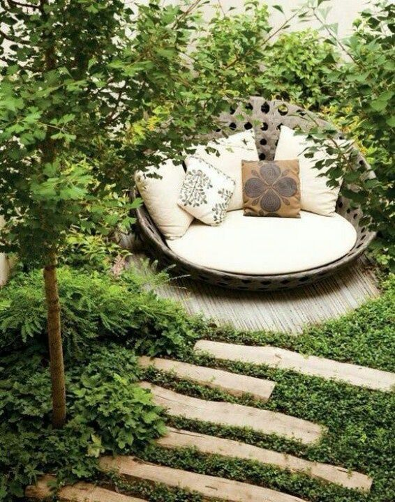 A nice seating or napping place my dream woodland garden