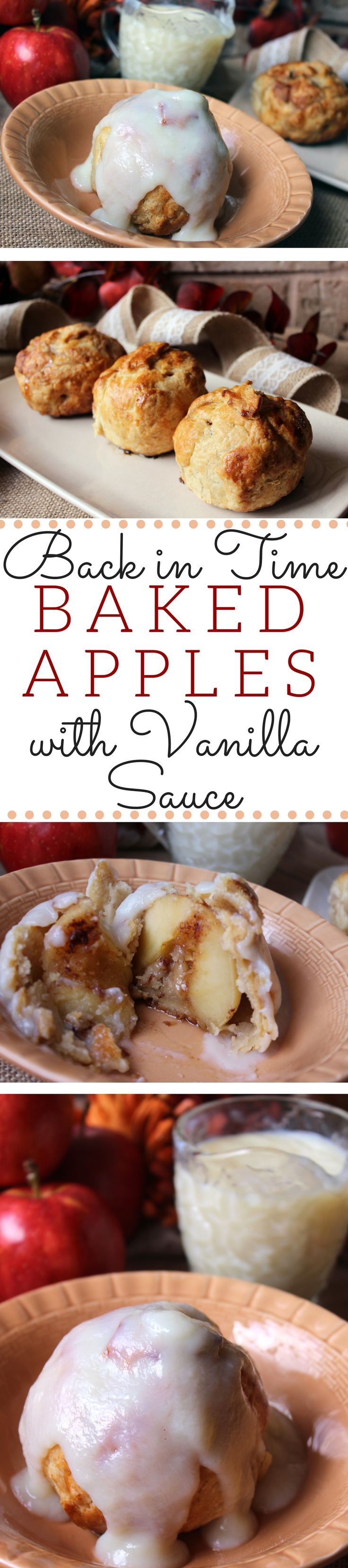 Wow, this apple dumpling is great! The crust is light and delicate with a warm cinnamon filled baked apple inside. What really makes this recipe special is the vanilla sauce