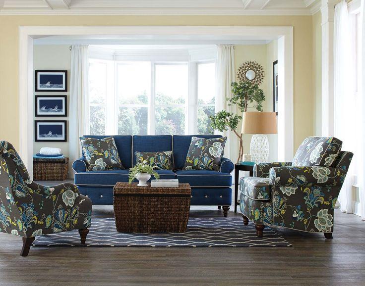 England Furniture 8480CW With Roma Blue, Leopold Aquamarine And Mariner  Ecru Fabrics