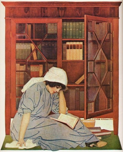 "books0977:  Illustration based on Life Magazine cover (June 8, 1911) ""The Lure of Books.""  C. Coles Phillips (American illustrator, 1880-1927)."