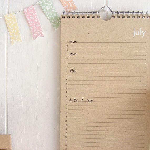 love this kraft perpetual calendar from lettercdesign on etsy