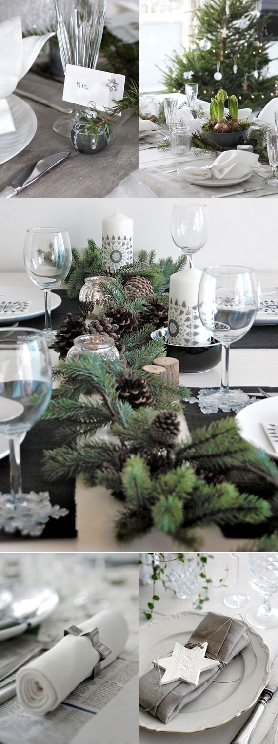 Beautiful! Evergreen & silver centrepieces