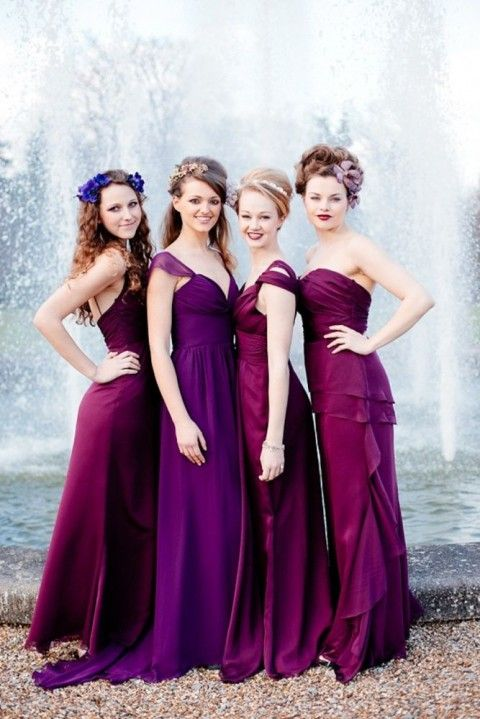54 Cool Mismatched Bridesmaids' Dresses | HappyWedd.com I love the look of mismatched bridesmaids dresses. Same Color family in different hues and styles!