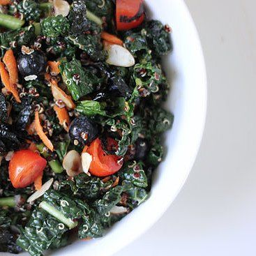 I'm a sucker for any salad that includes the powerhouse duo kale and quinoa. Both are jam-packed with nutrients like vitamins A, C, and K (kale) and healthy fats, protein, and fiber (quinoa), making the combination a healthy and filling lunch.