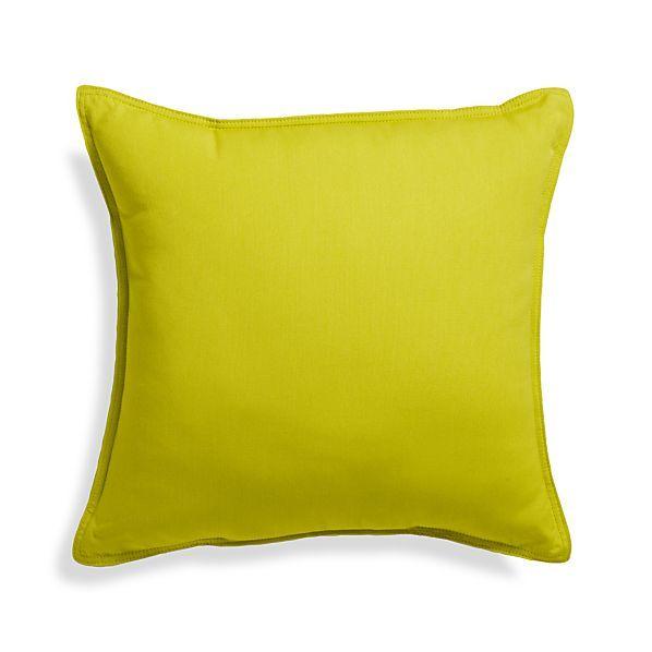 "Sunbrella ® Sulfur 20"" Sq. Outdoor Pillow  | Crate and Barrel"