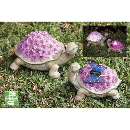 Solar Turtle With Flowers Set of 2