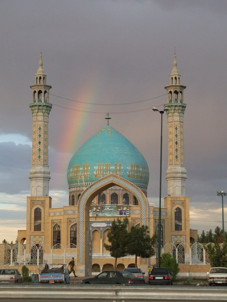 Turquoise Mosque. See the rainbow? Couldn't be more prettier than when it's arching over a mosque. Subhanallah!