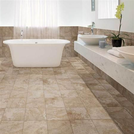 Contemporary Cream/beige #bathroom #tile With Stand Alone Tub. Stone Claire  By