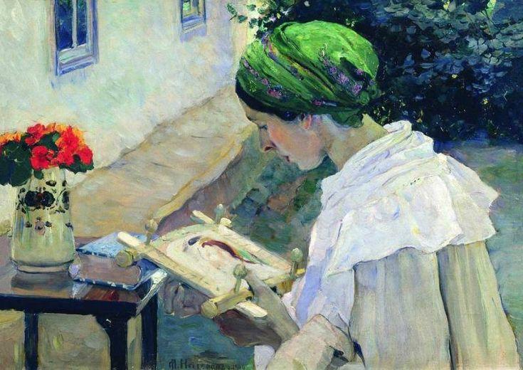 """Portrait of H. E. Nesterova embroidering"" by Mikhail Nesterov"