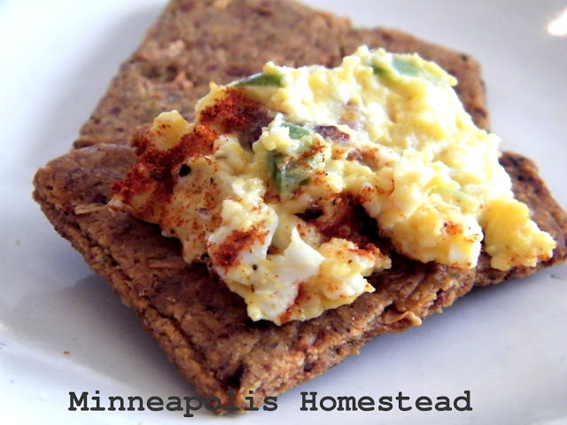 Bacon jalapeno egg salad with olive oil mayo and grain free cracker ...