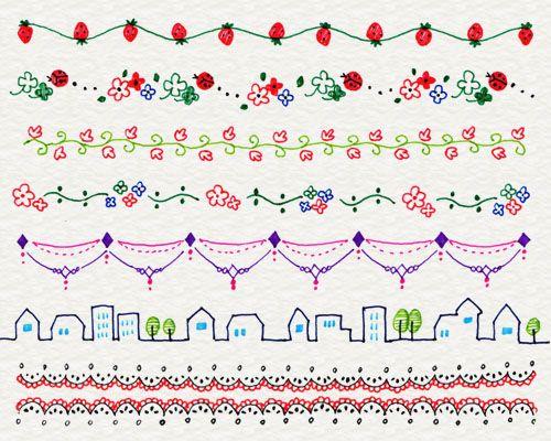 2-5. 飾り線でかわいく | 4色ボールペンで!かわいいイラスト描けるかな