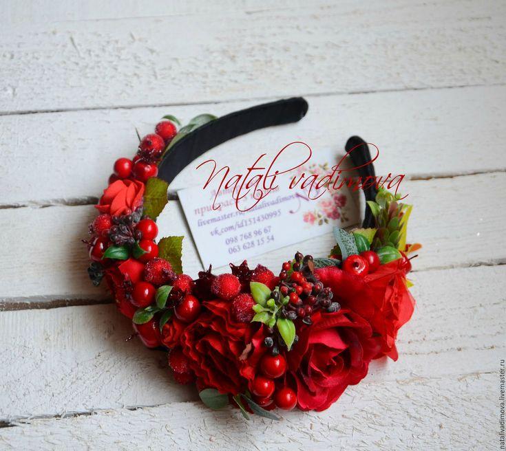 Купить Ободок красный с ягодами - Ободки с цветами, ободок с розами, венок из роз, венок с розами