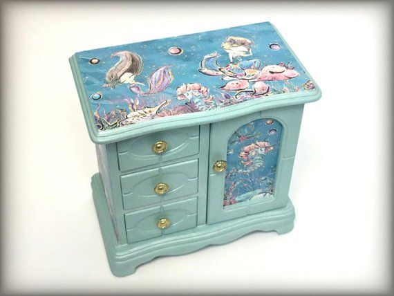bc6f7752e1 Mermaid Jewelry Box, Little Girls Jewelry Armoire, Hand Painted, Gift for  Girl, Aqua Blue, Sea Creatures, Unique Daughter Granddaughter Gift