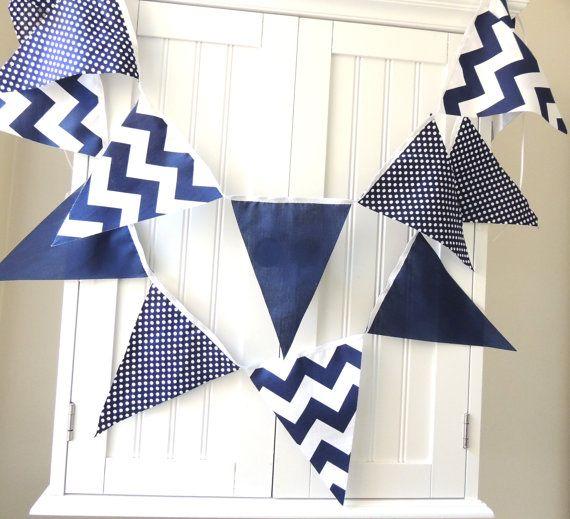 11 Fabric Flag Banner, 5 Feet Bunting, Navy and White, Polka Dot, Chevron Baby Nursery Decor, Birthday Party Banner, Photo Prop