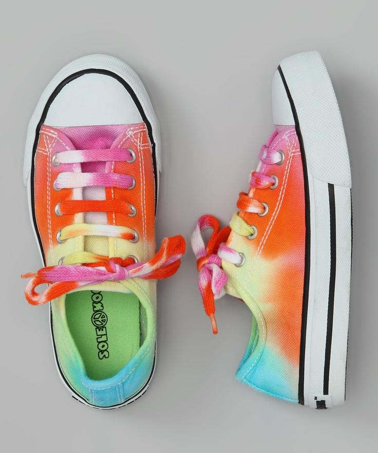 Pink & Orange Tie-Dye Sloane Sneaker by Zinnias on #zulily