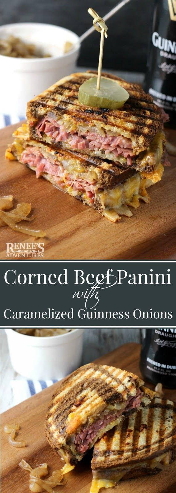 Corned Beef Panini with Caramelized Guinness Onions | Renee's Kitchen Adventures - easy recipe for corned beef sandwiches with Guinness infused onions, cheddar cheese, on marble rye bread. Makes a great lunch or dinner and a good way to use up leftover corned beef. #BestBeef