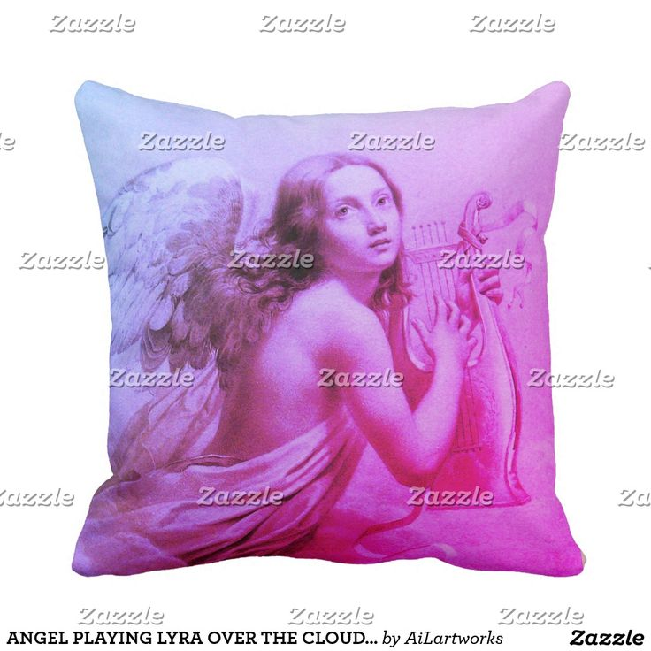 ANGEL PLAYING LYRA OVER THE CLOUDS Pink Blue Throw Pillow #angels #wings #music #homedecor #beauty #fineart