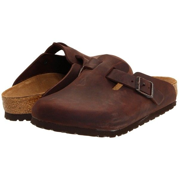 Birkenstock Boston - Oiled Leather (Unisex) (Habana Oiled Leather)... ($130) ❤ liked on Polyvore featuring shoes, clogs, clogs & mules, habana oiled leather, birkenstock shoes, breathable shoes, birkenstock clogs, evening shoes and leather shoes