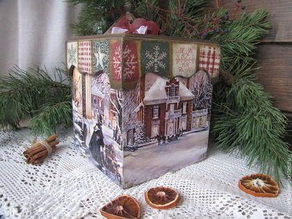 """Большой короб """"Рождественские подарки"""" - бежевый,короб,короб для хранения"""
