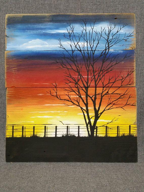 Sunset painting pallet wall art sunset art by TheWhiteBirchStudio