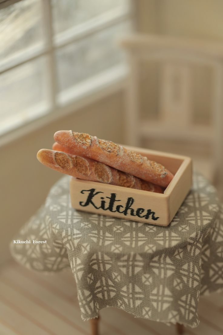 Miniature Food - Dollhouse Assorted Breads, baguette with handmade wooden Rustic box,Wooden Vintage Crate #handmade #miniature #dollhouse #kikuikestudio #clay #sculpted  # french #breakfast # baguette  #dollhousefood #bakery #loaf #パン #pain