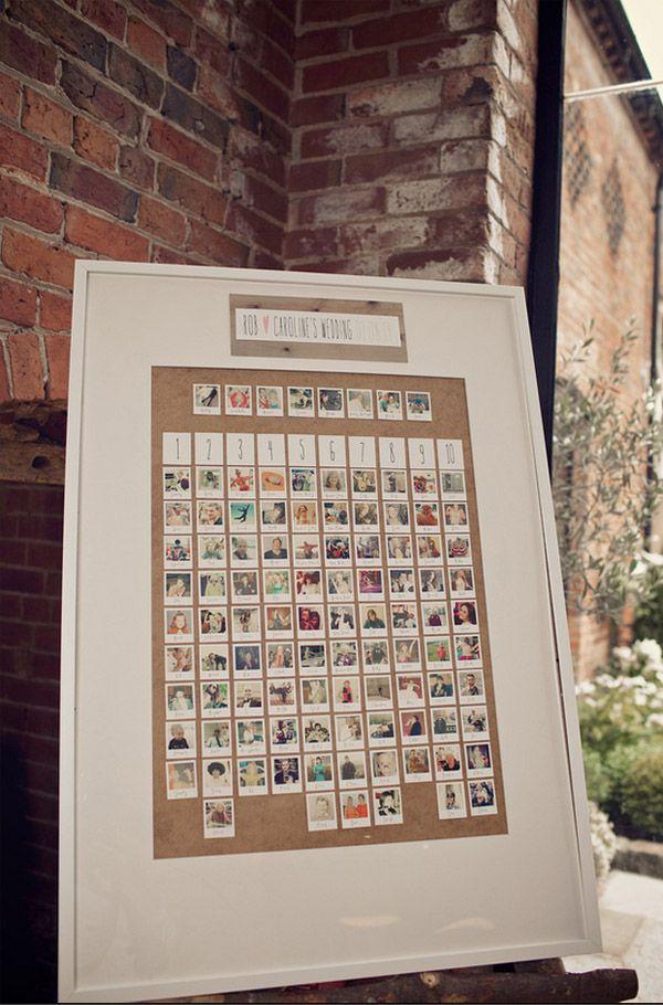 polaroid photo table plan shustoke farm barns summer wedding florist passion for flowers