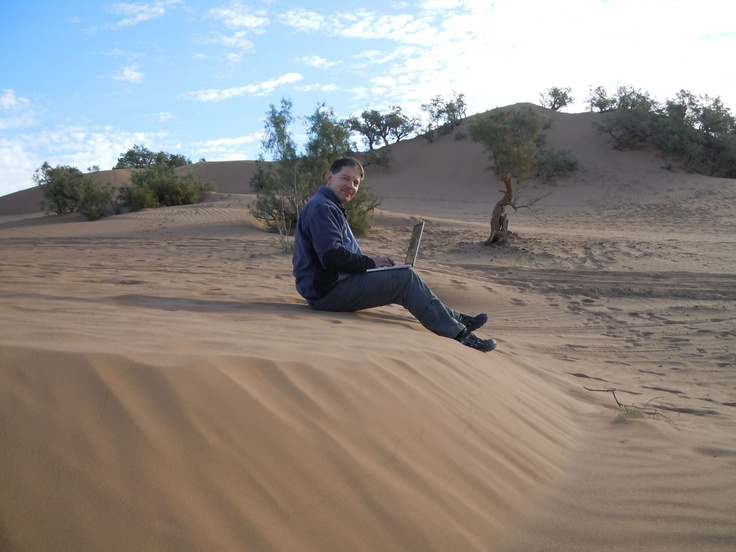 Laptop Lifestyle in the dessert of Morocco near M'hamid in the south east.