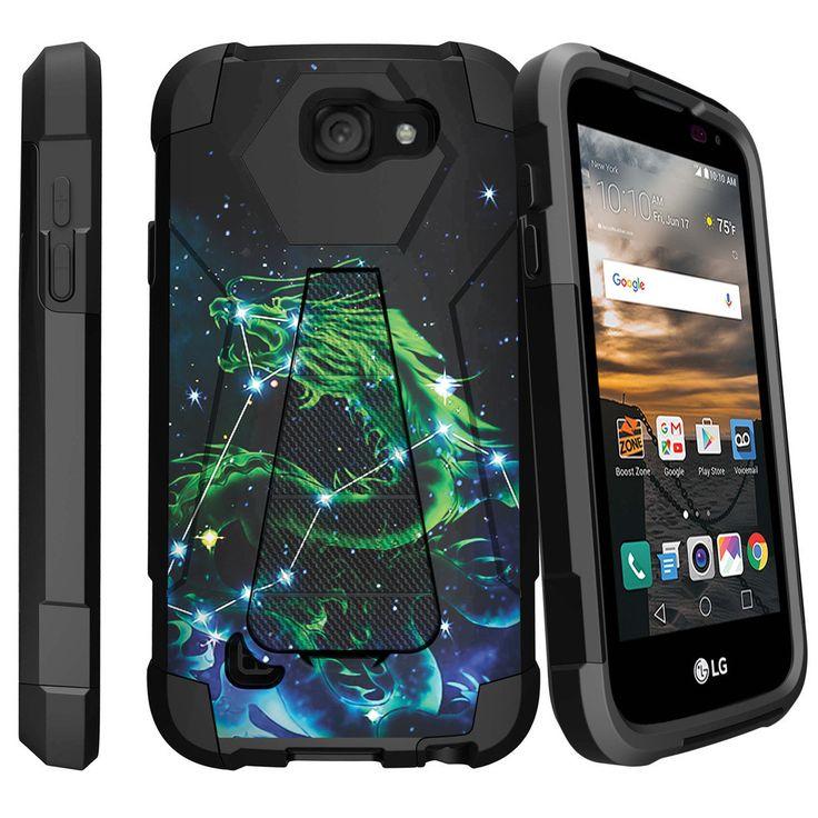 LG K3, LS450 Case SHOCK FUSION, Rugged Slim Heavy Duty Kickstand Cover - Dragon Stars