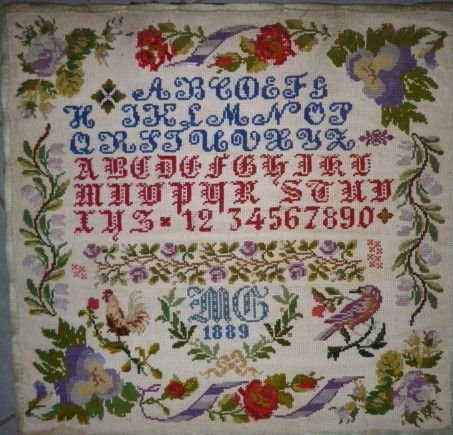 A 19th Century Sampler Signed MG & Dated 1889