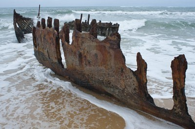 Shipwreck, Moffat Beach, Sunshine Coast, Australia Stock Photo - #airnzsunshine