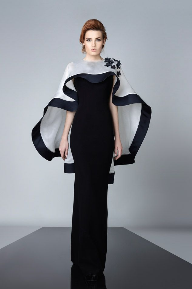Black & White gown and cape by Edward Arsouni Couture 2016 13 bmodish