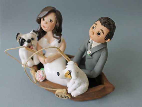 Fishing Couple Clay Cake Toppers Wedding