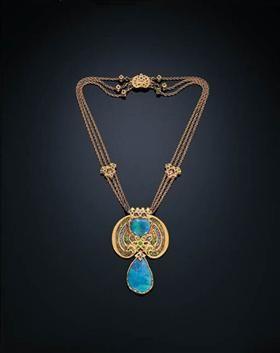 Ketting.  Zwarte opalen, demantoid granaat, saffier, email, goud - Louis Comfort Tiffany