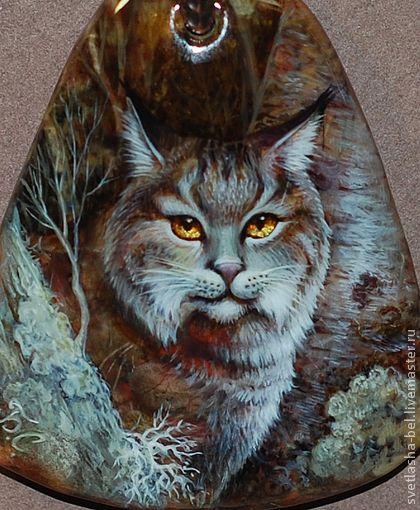 Дикая Кошка - коричневый,лаковая миниатюра,кулон натуральный камень,роспись по камню
