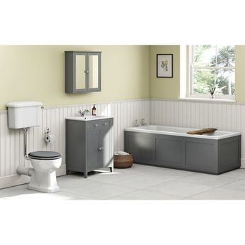 The Bath Co. Camberley grey low level furniture suite with straight bath 1700 x 700