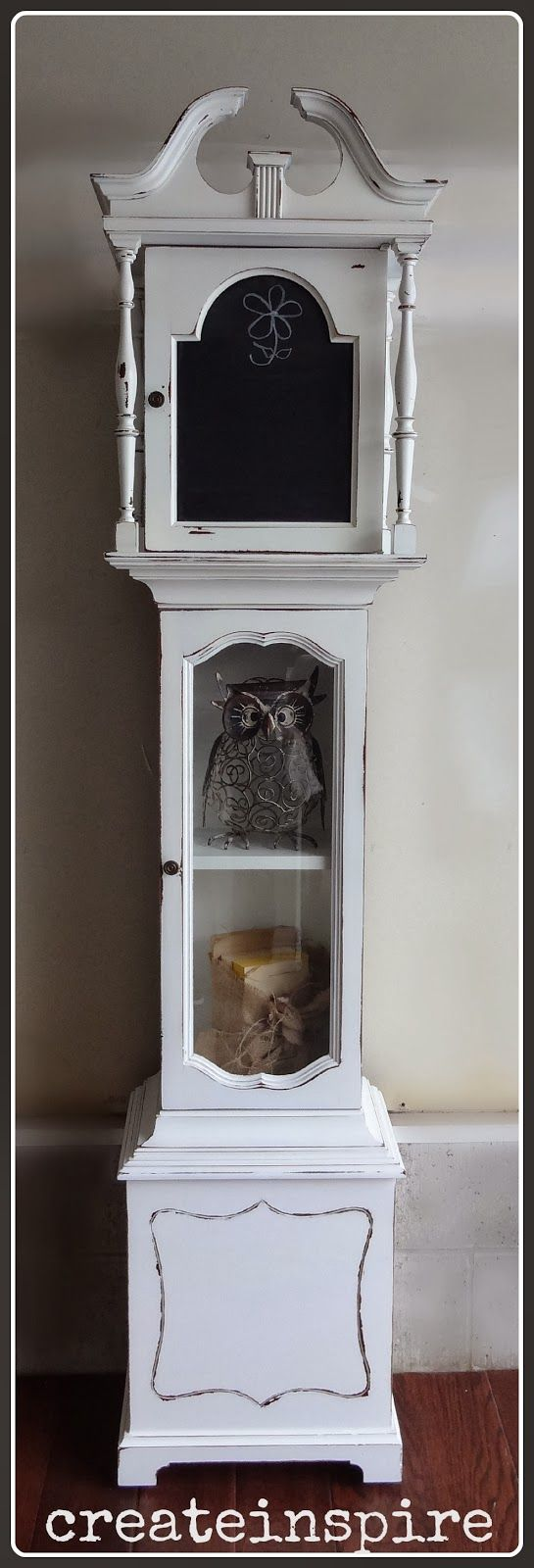 Repurposed Grandfather Clock with chalkboard.