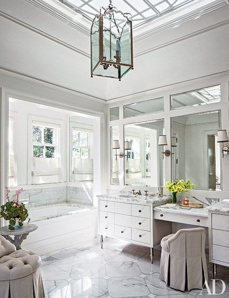 A sprawling vanity makes mornings a little easier in this California master bath designed by Miled Redd. | archdigest.com