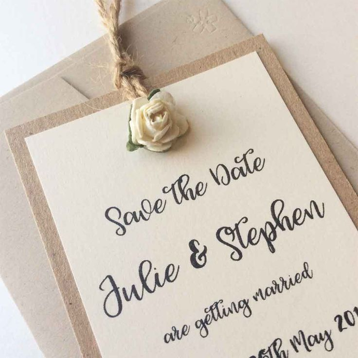 Rustic Rose Save the Date Tag