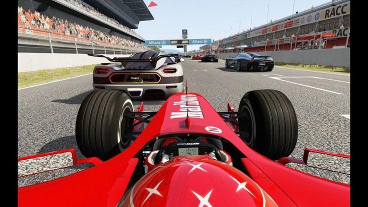 Racing Onboard Ferrari F1 F2004 vs Super Cars at Barcelona-Catalunya